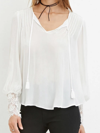 Forever 21 lace sleeve white blouse