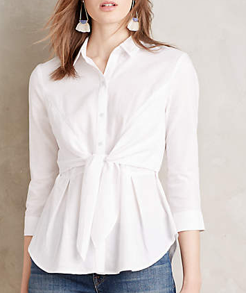 Anthropologie Tie-Front Buttondown