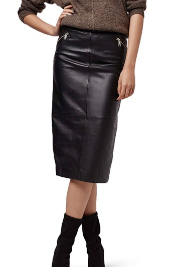 Topshop Leather Midi Skirt