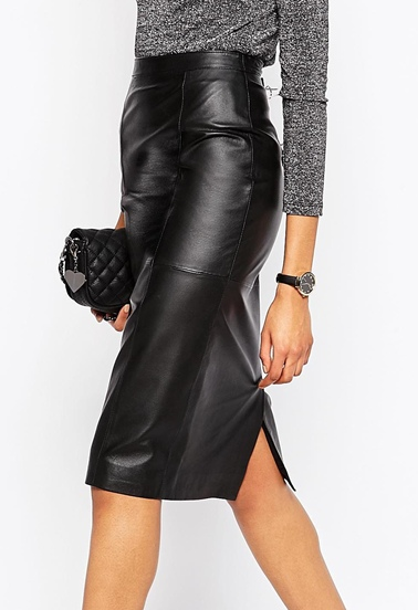 Asos leather midi skirt