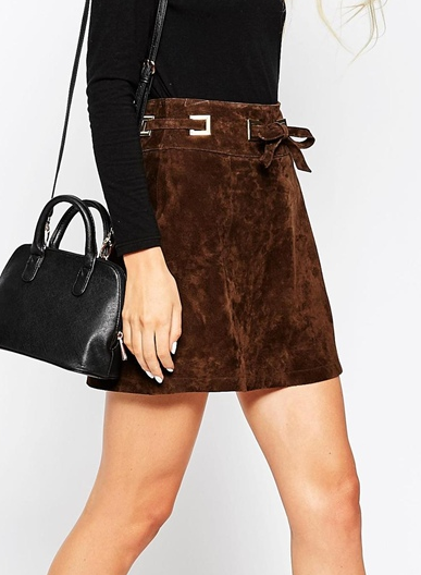 Asos suede a-line mini skirt