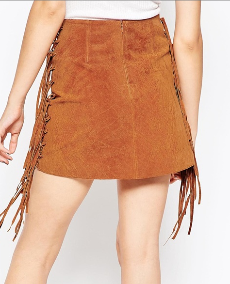 Asos fringe suede mini skirt