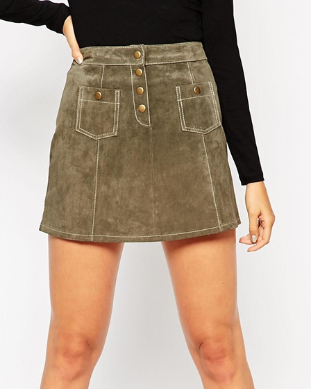 ASOS TALL A-Line Suede Mini Skirt