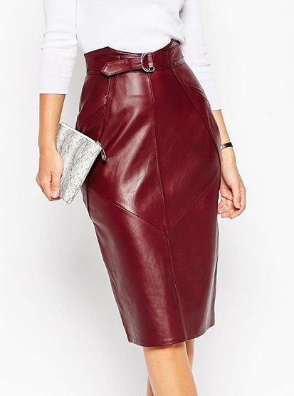 Asos d-ring leather midi skirt