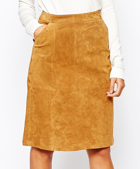 Warehouse suede midi skirt