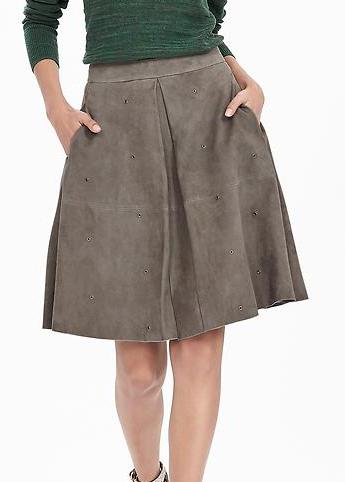 Banana Republic Heritage Suede Grommet Skirt