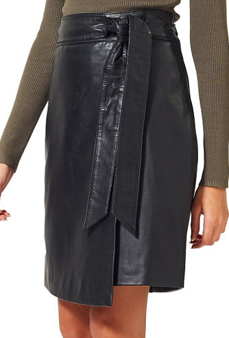 MISS SELFRIDGE Leather Wrap Skirt