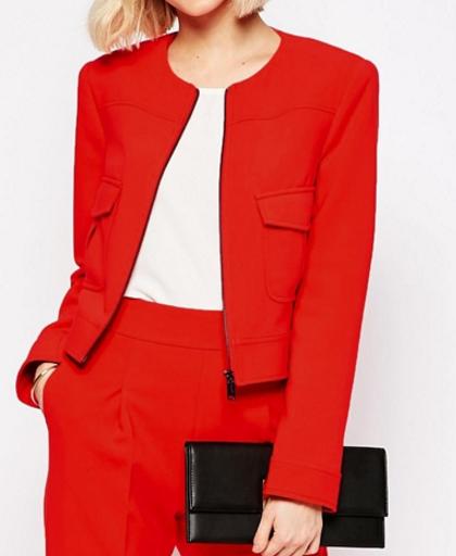 Asos cropped zip blazer