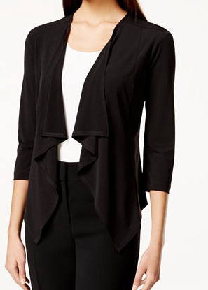 Connected Three-Quarter-Sleeve Ruffle Jacket