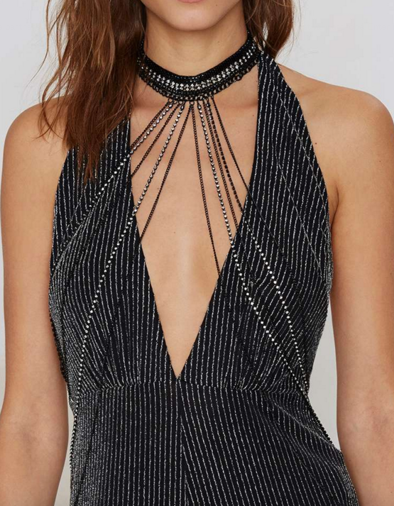 Pavé The Way Choker Bodychain