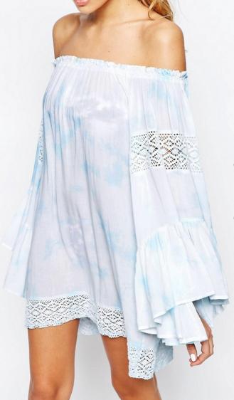 Surf Gypsy Tie Dye Crochet Sleeve Beach Dress