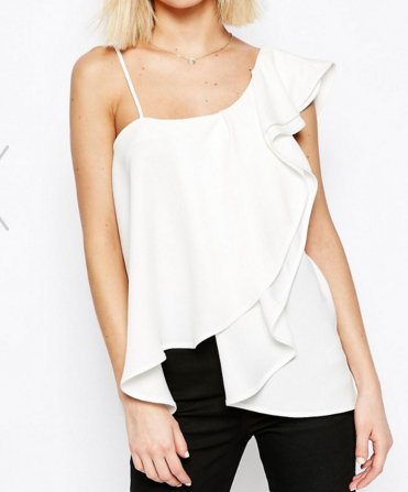 ASOS One Shoulder Ruffle Front Cami Top