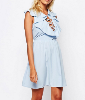 Fashion Union Dress With Ruffles & Lace Up