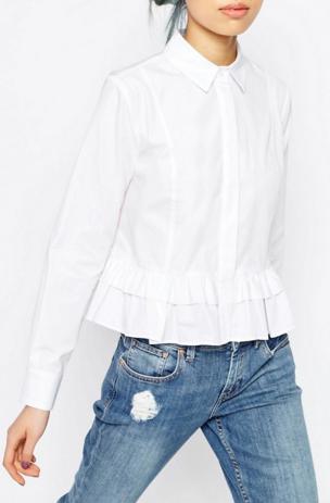 ASOS TALL White Shirt With Ruffle Hem