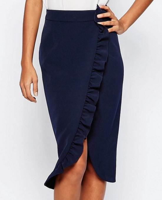 ASOS Premium Tailored Pencil Skirt with Ruffle