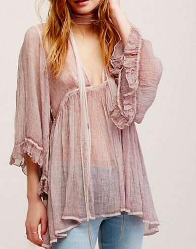 Fp ruffled sheer tunic