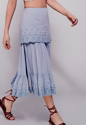 FP ruffled midi skirt