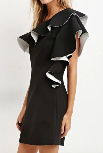 Forever 21 ruffled shoulder dress