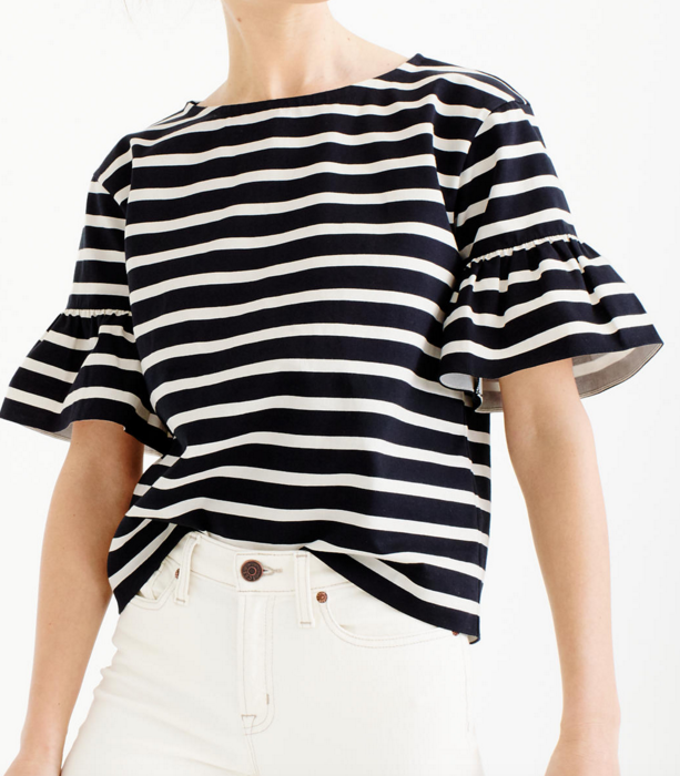 J.crew striped ruffle tee