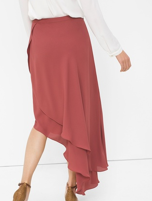 WHBM ASYMMETRIC WRAP MAXI SKIRT