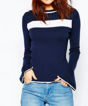 ASOS Sweater In Stripe With Flared Sleeve
