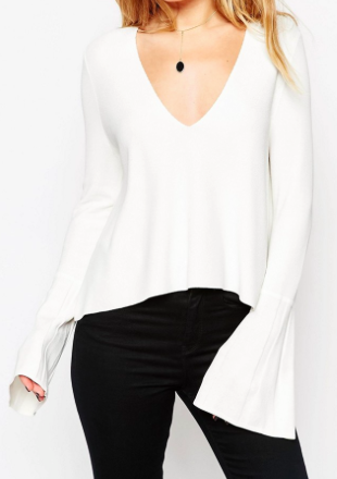 ASOS Sweater with Deep V and Flared Sleeve