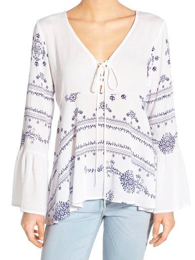 BP. Print Lace-Up Peasant Top