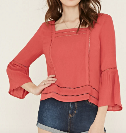 Ladder-Cutout Gauze Blouse