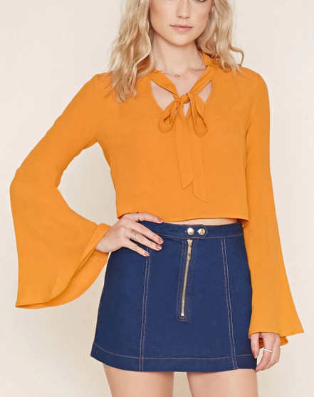 Forever 21 tie bell sleeve blouse