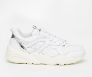 Puma R698 White Exotic Croc Texture Sneakers