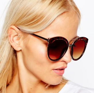ASOS Oversized Round Preppy Sunglasses With Metal Sandwich