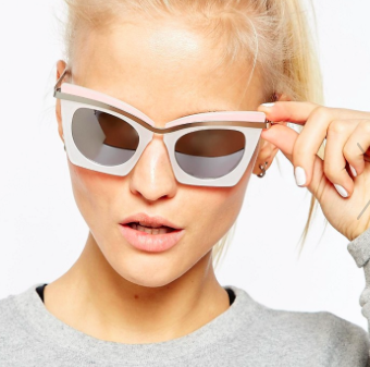 ASOS Highbrow Square Cat Eye Sunglasses In Color Block With Built Up Highbrow