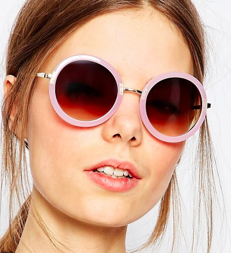 ASOS Round Sunglasses With Metal Nose Bridge In Nude