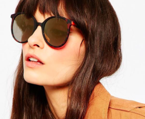 ASOS Round Oversized Sunglasses In Fine Frame With Flash Lens