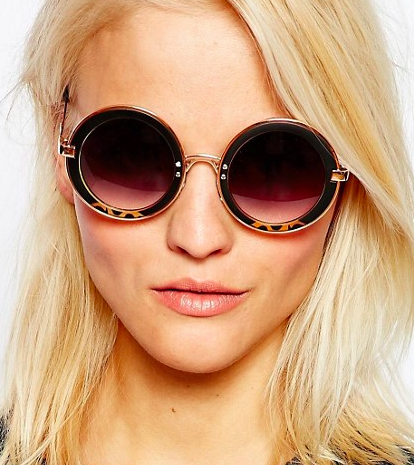 ASOS Round Sunglasses With Metal Sandwich And Copper Color Double Nose Bridge