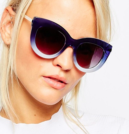 ASOS Chunky Cat Eye With Metal Arms And Graduated Blue Frame