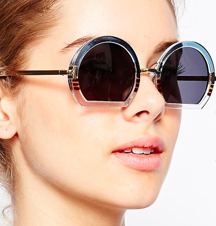 ASOS Round Sunglasses With Mixed Sliced Bottom Frame