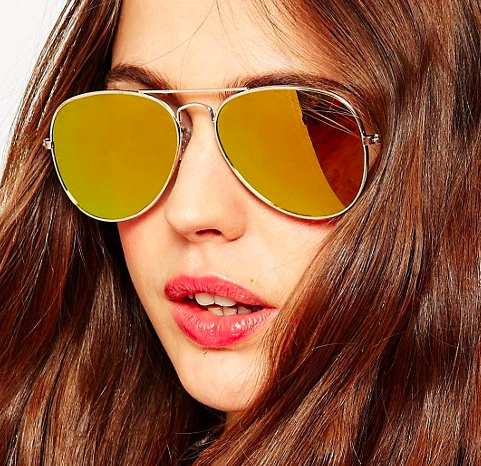 ASOS Gold Aviator With Flat Lens
