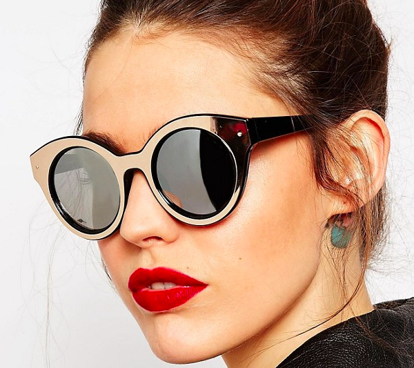 ASOS Round Sunglasses With Metallic Insert And Flash Lens