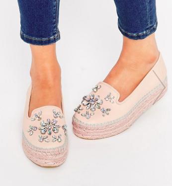 Carvela Lolly Nude Leather Embellished Espadrille Flatform Shoes