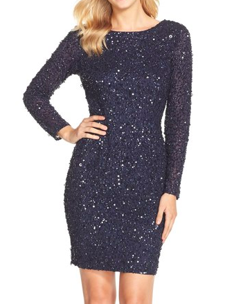 Adrianna Papell Embellished Scoop Back Cocktail Dress