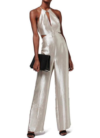 Topshop Cutout Metallic Jumpsuit