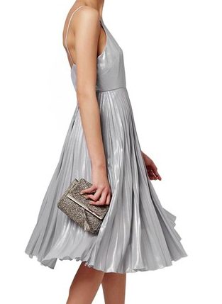 Topshop Metallic Plunge Midi Dress