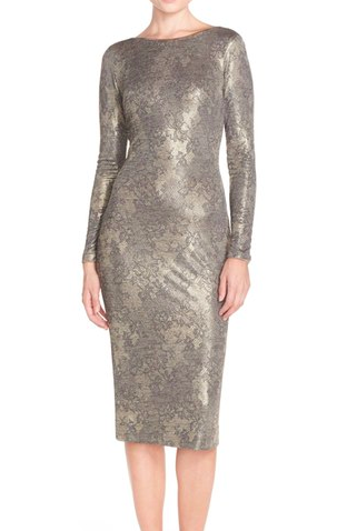 Dress the Population 'Emery' Metallic Jersey Sheath Dress