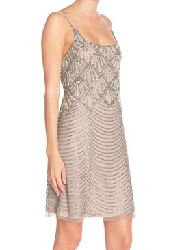 Adrianna Papell Beaded Mesh Slipdress