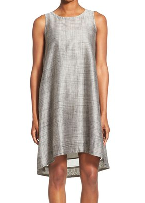 Eileen Fisher Cotton & Silk Round Neck Knee Length Shift Dress