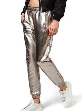 Topshop Foil Jogger Pants