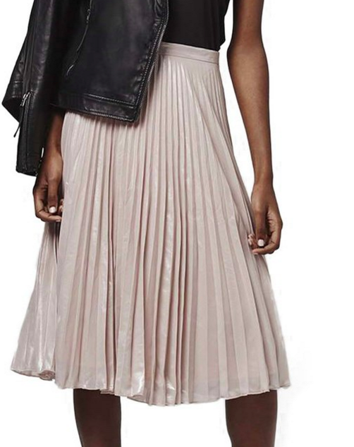 Topshop Metallic Pleated Midi Skirt