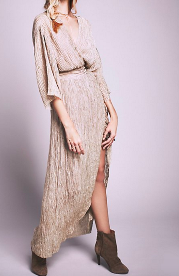 FP CRINKLE SILK WRAP DRESS