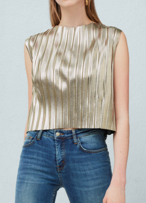 MANGO METALLIC PLEATED TOP